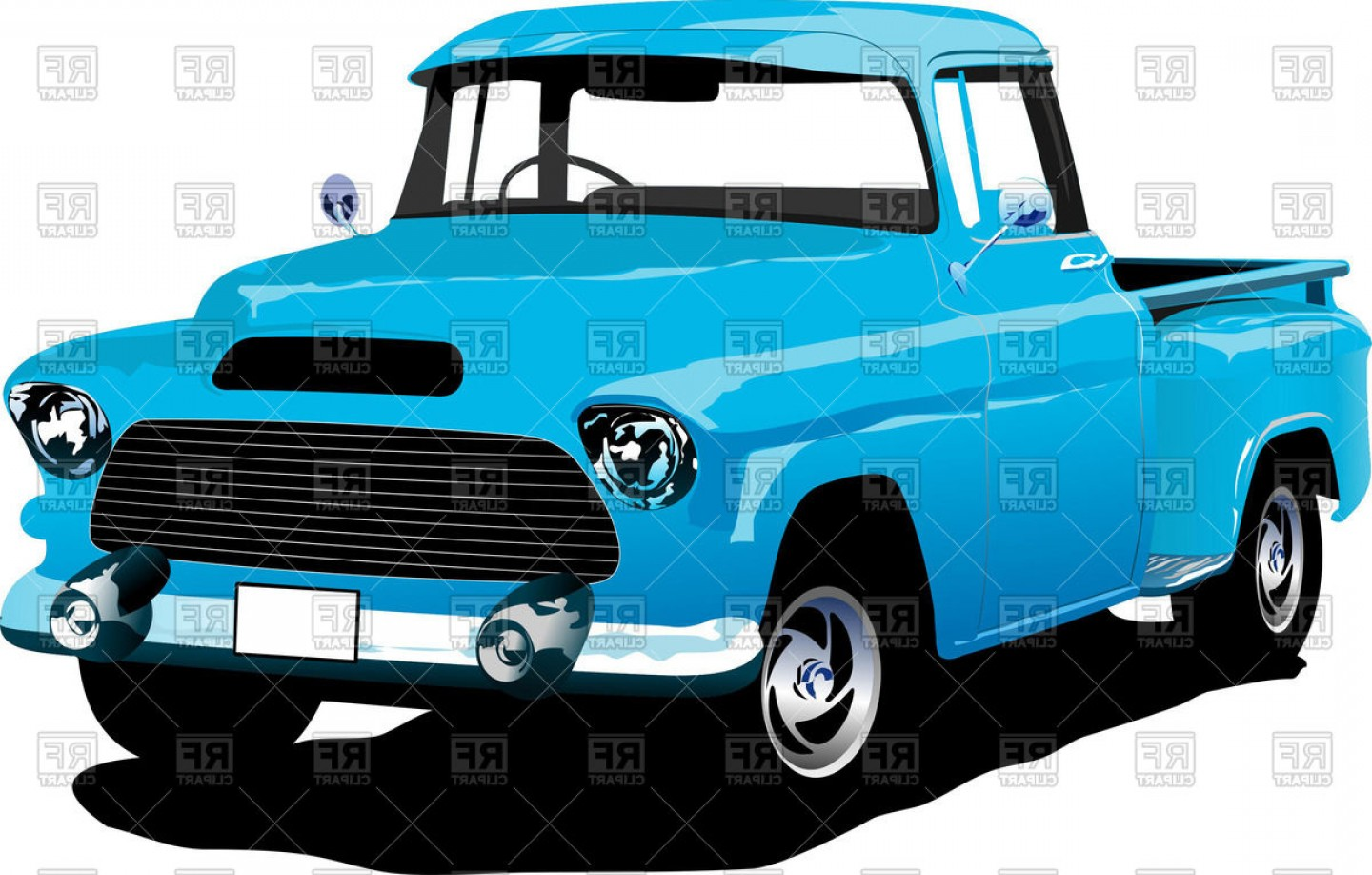 1440x918 Old American Blue Pick Up Truck Vector Clipart Shopatcloth