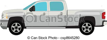 450x169 Pick Up Truck Vector Illustration Isolated On White.