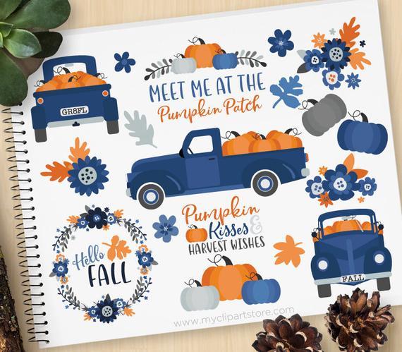 570x499 Pumpkin Truck Clipart, Thanksgiving, Farmhouse, Vintage, Fall