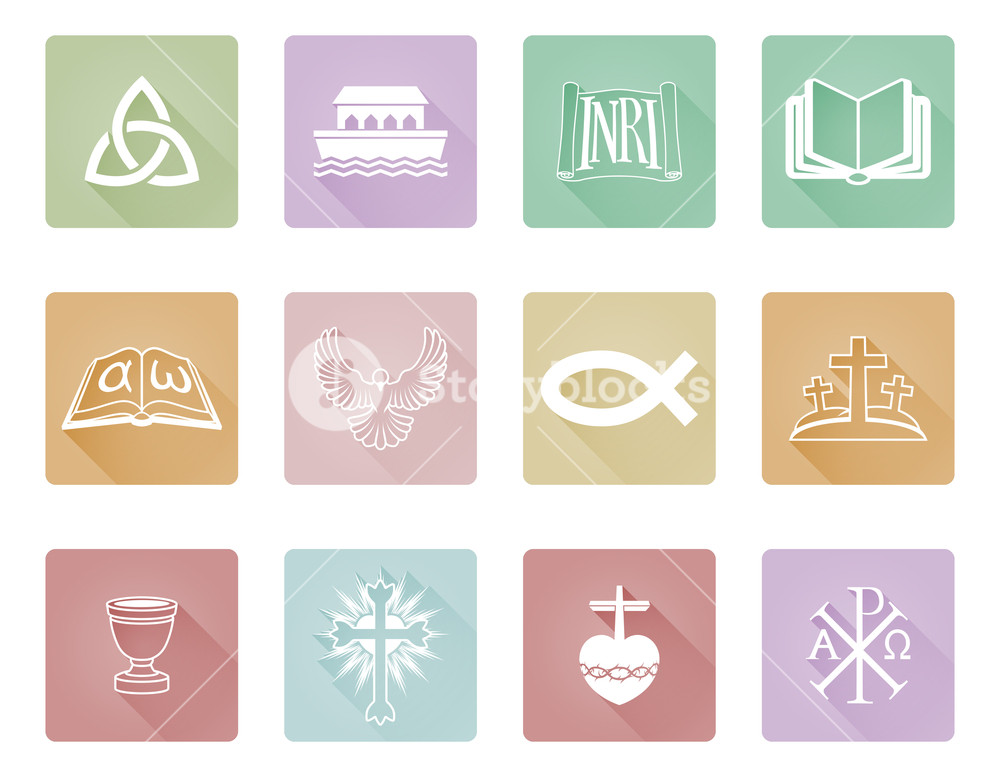 1000x777 A Set Of Christian Icons And Symbols Including Chi Rho, Alpha
