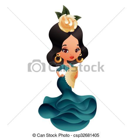 450x470 Latin Spanish Cute Chibi Cartoon Girl . Latin Spanish Chibi