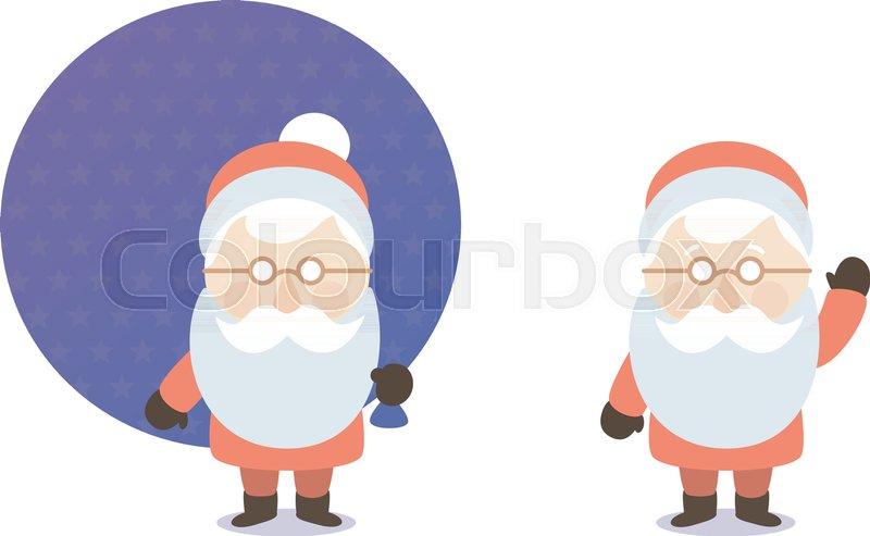 800x493 The Cartoon Santa Claus With Bag Of Gifts, Postcard, Flat Design