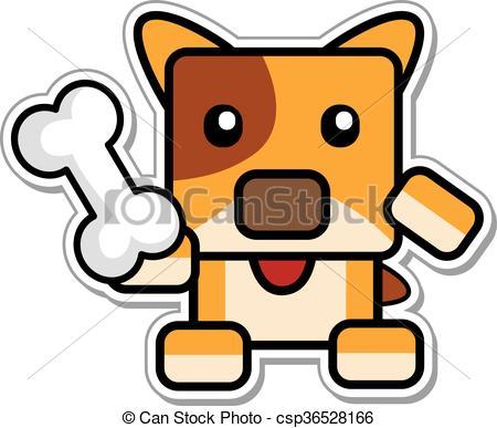 450x387 Vector Illustration Of Cartoon Chibi Dog Holding Bone.