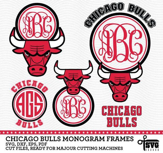 570x534 Chicago Bulls Monogram Frames. Vector Digital By Svgheavenstore