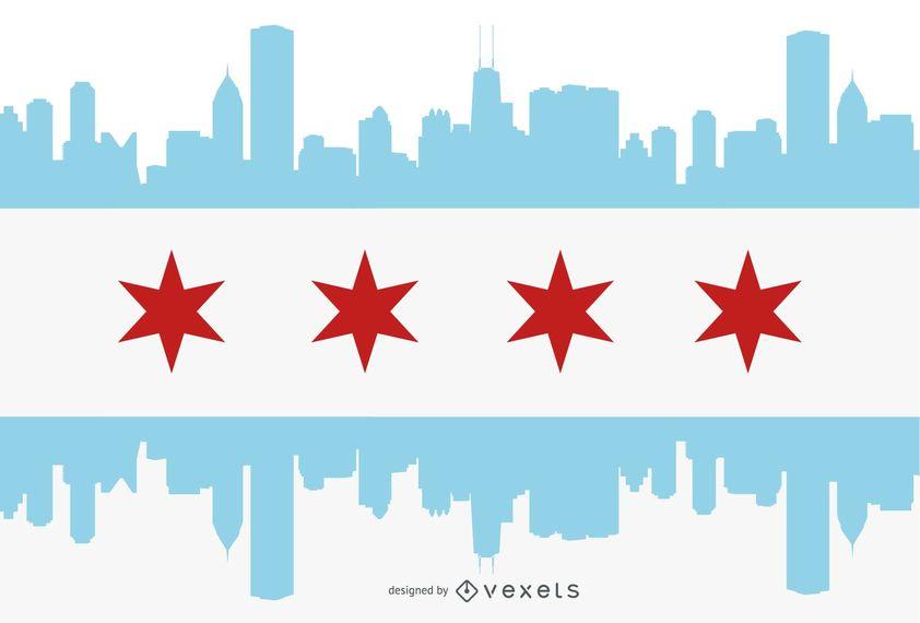 842x570 Chicago Flag City Silhouette