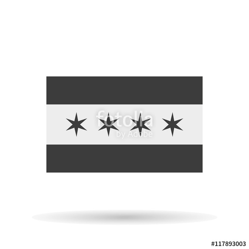 500x500 Chicago Flag Icon Official, Stars Vector Illustration Eps10 Stock