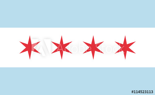 500x308 Chicago Flag Official Right Proportions, Red Stars Vector