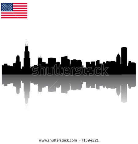 450x468 Detailed Vector Chicago Silhouette Skyline With Usa Flag Cake