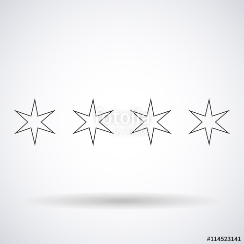 500x500 Stars Hexagonal Silhouettes Outlines Element Chicago Flag Isolated