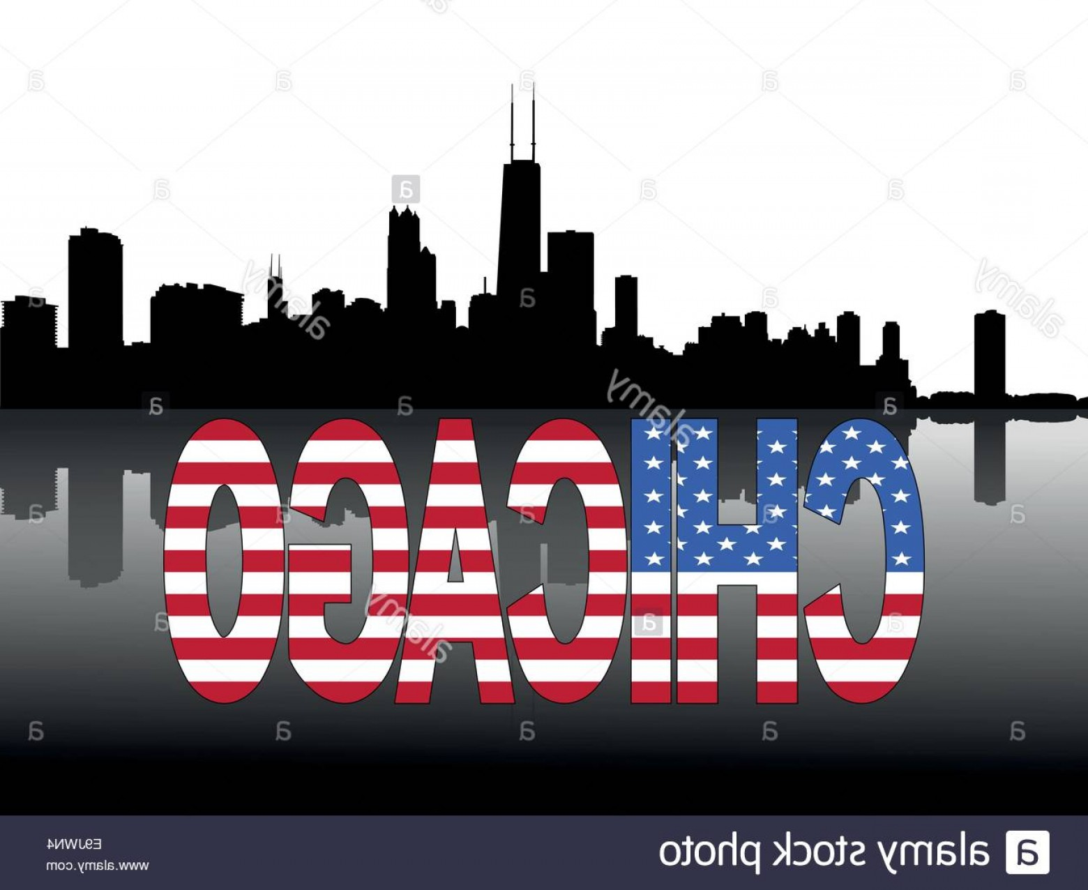 1560x1276 Stock Photo Chicago Skyline And Text Reflected With American Flag