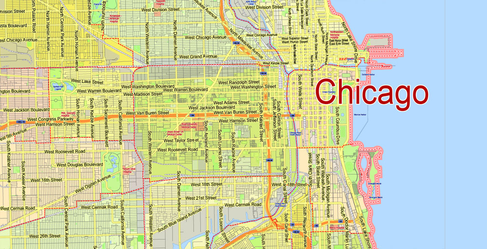 1000x512 Chicago Map Exact City Plan Editable Adobe Illustrator Street Map