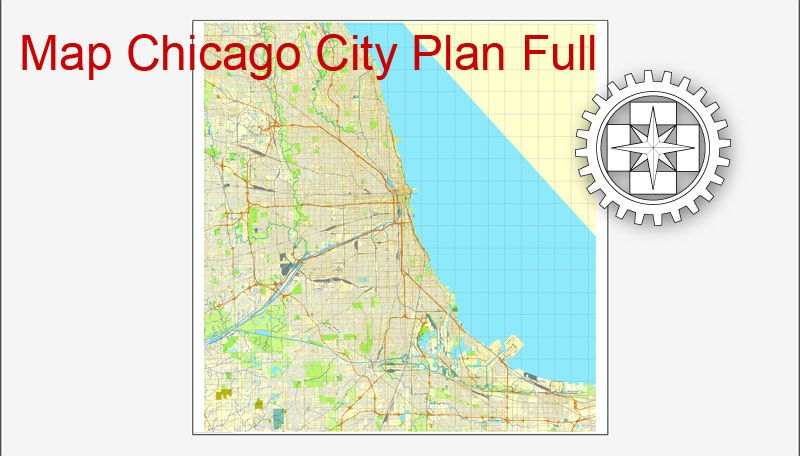 800x456 Chicago, Il, Us, Printable City Plan Map Adobe Illustrator, Full