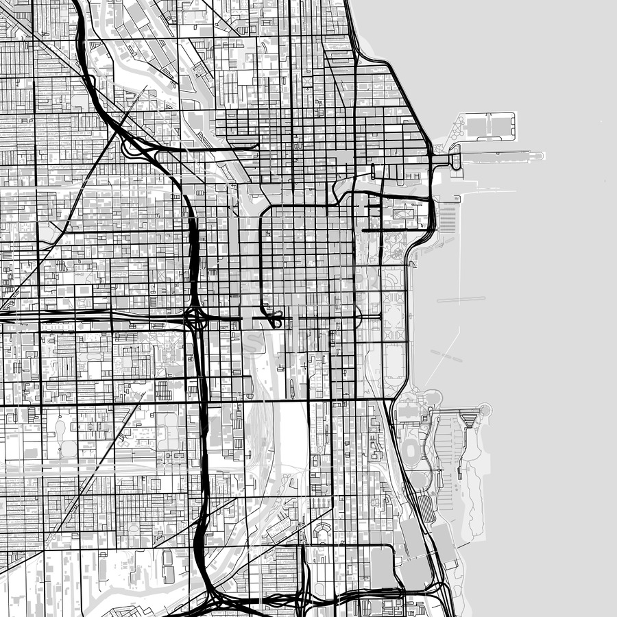 900x900 Downtown Map Of Chicago, Light Hebstreits