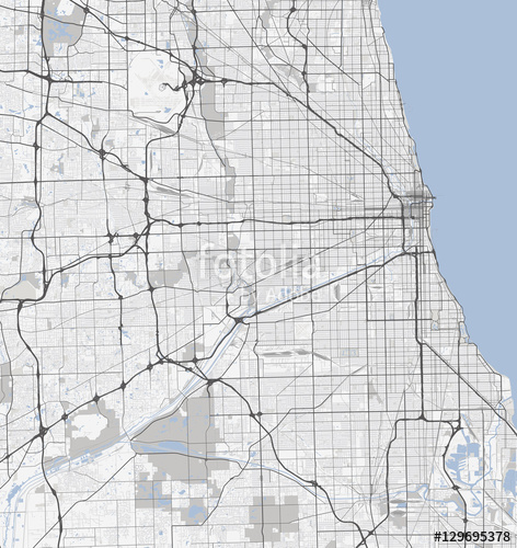 472x500 Map Chicago City. Illinois Roads Stock Image And Royalty Free