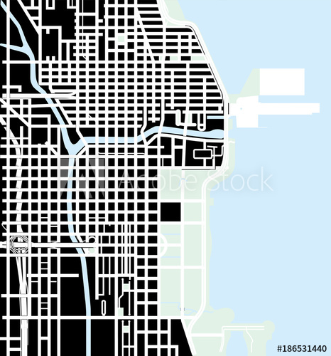 466x500 Urban Vector City Map Of Chicago, Usa