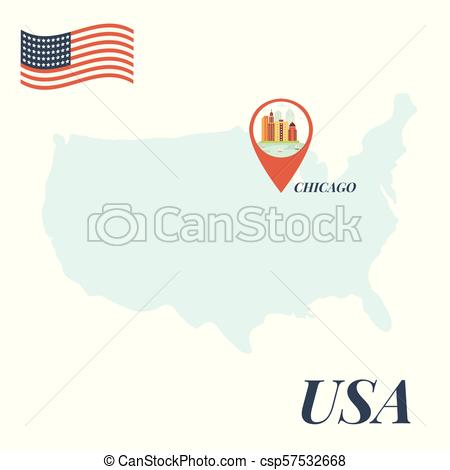 450x470 Usa Map With Chicago Pin Travel Concept Vector Illustration.