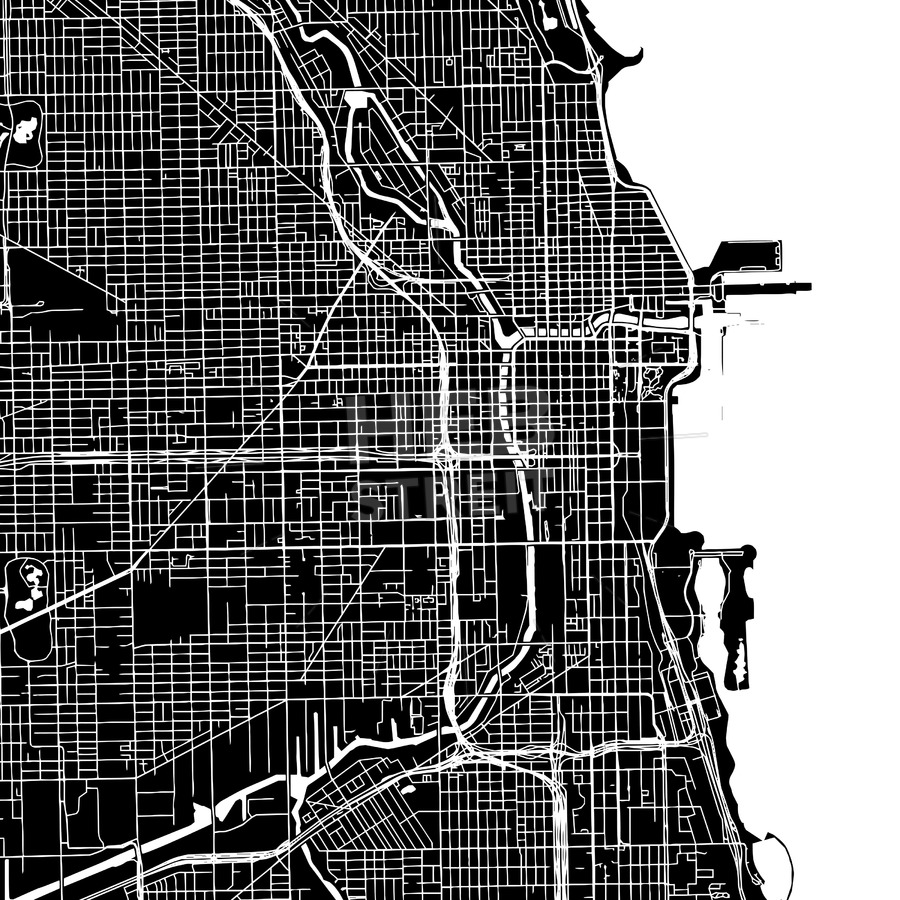 900x900 Chicago, United States, Downtown Map, Dark Hebstreits