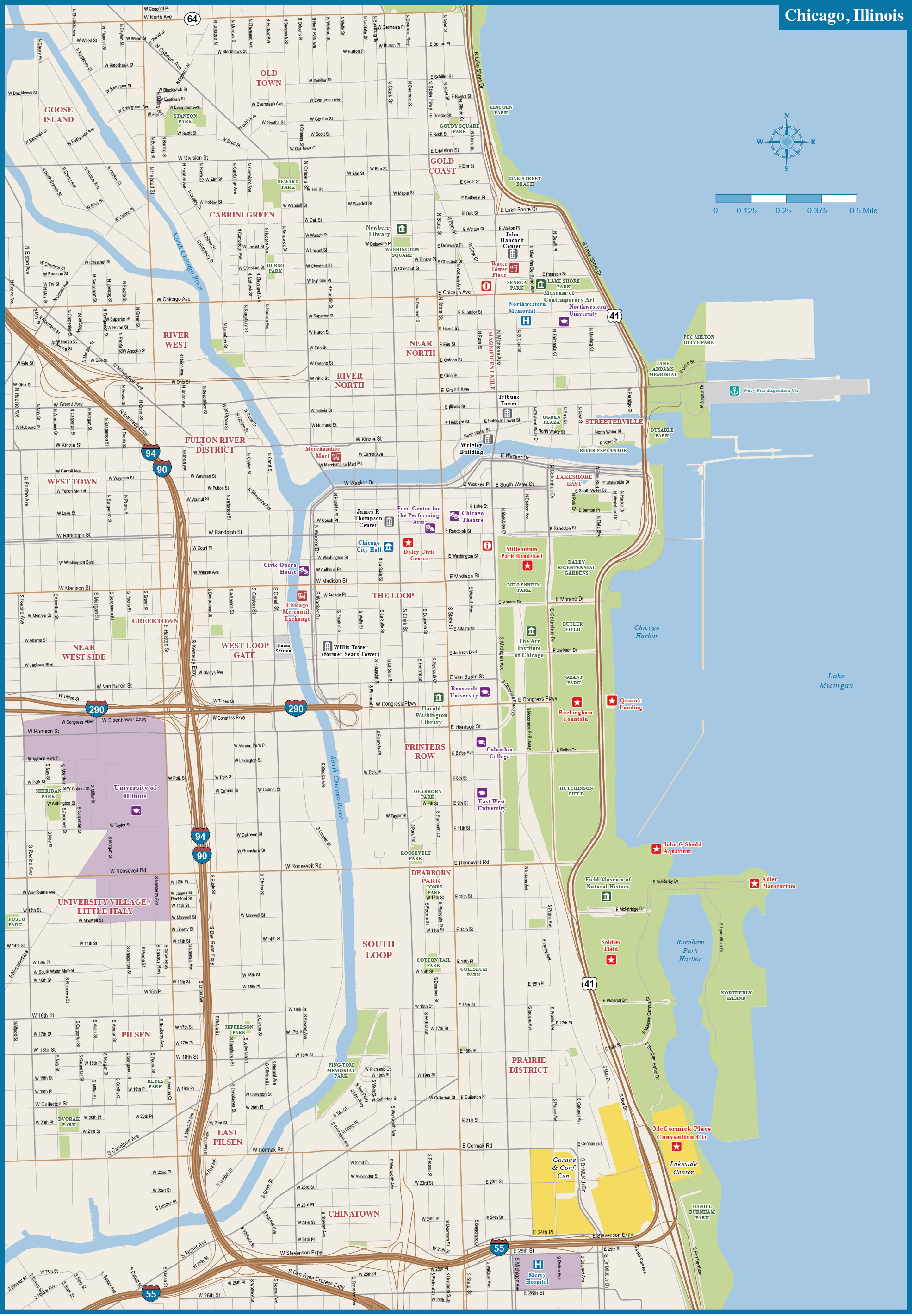 1971x2844 Chicago Downtown Map Digital Vector Creative Force