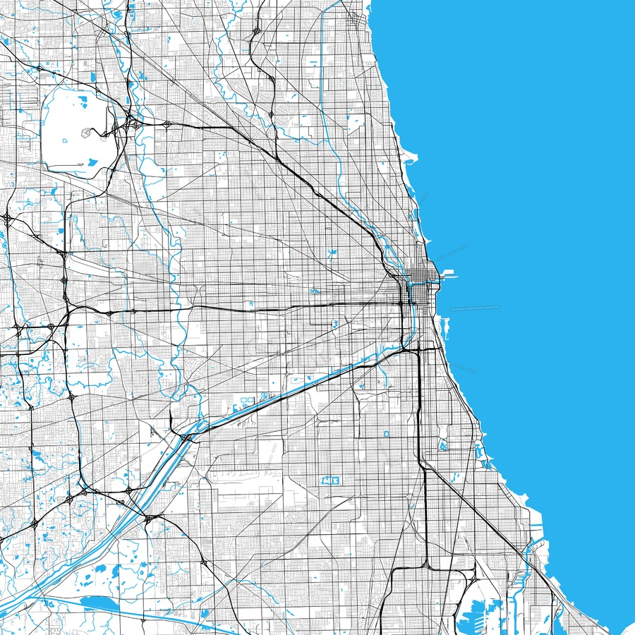 900x900 Chicago High Resolution Vector Map Hebstreits
