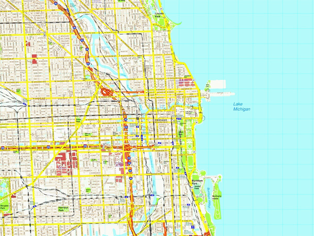 1200x900 Chicago Map Usa Beautiful Chicago Map Eps Illustrator Vector City