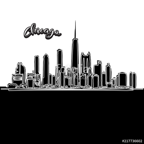500x500 Chicago Skyline, Outline Stock Image And Royalty Free Vector