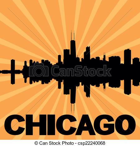 450x470 Chicago Skyline Sunburst. Chicago Skyline Reflected With Sunburst