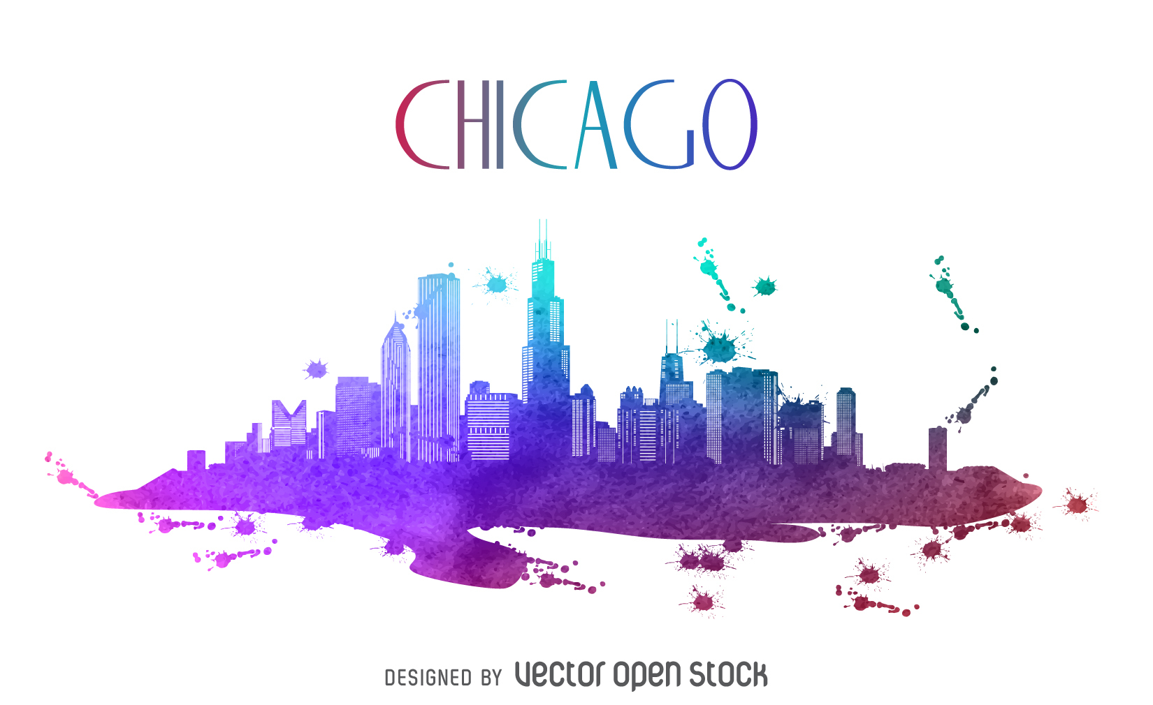 1650x1010 Chicago Watercolor Skyline Silhouette