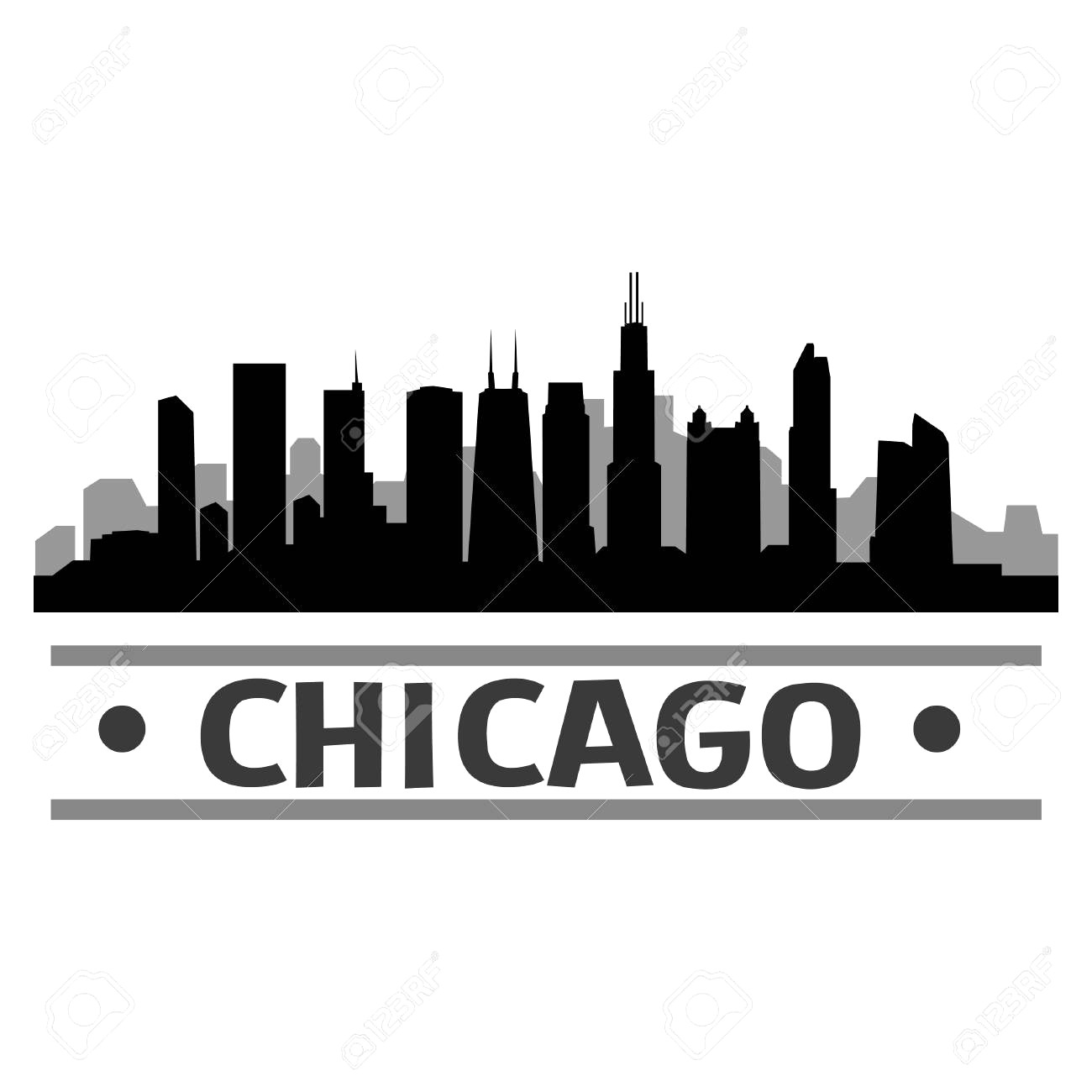 1300x1300 83651184 Chicago Skyline Vector Art City Design 16 Silhouette