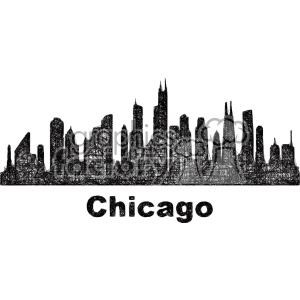 300x300 Royalty Free Black And White City Skyline Vector Clipart Usa