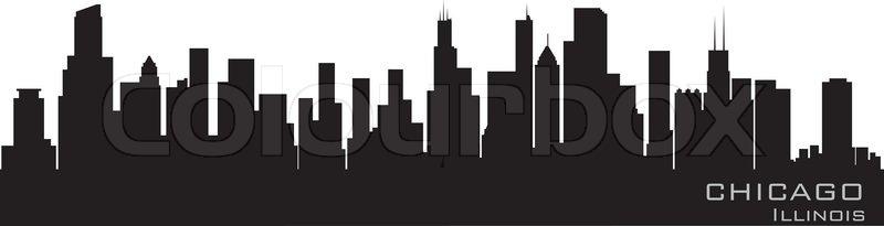 800x205 Chicago, Illinois Skyline Detailed Vector Silhouette Stock
