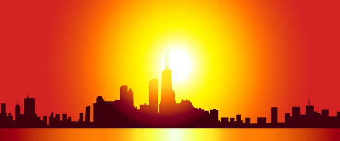700x292 Chicago Skyline Vector Wall Mural We Live To Change