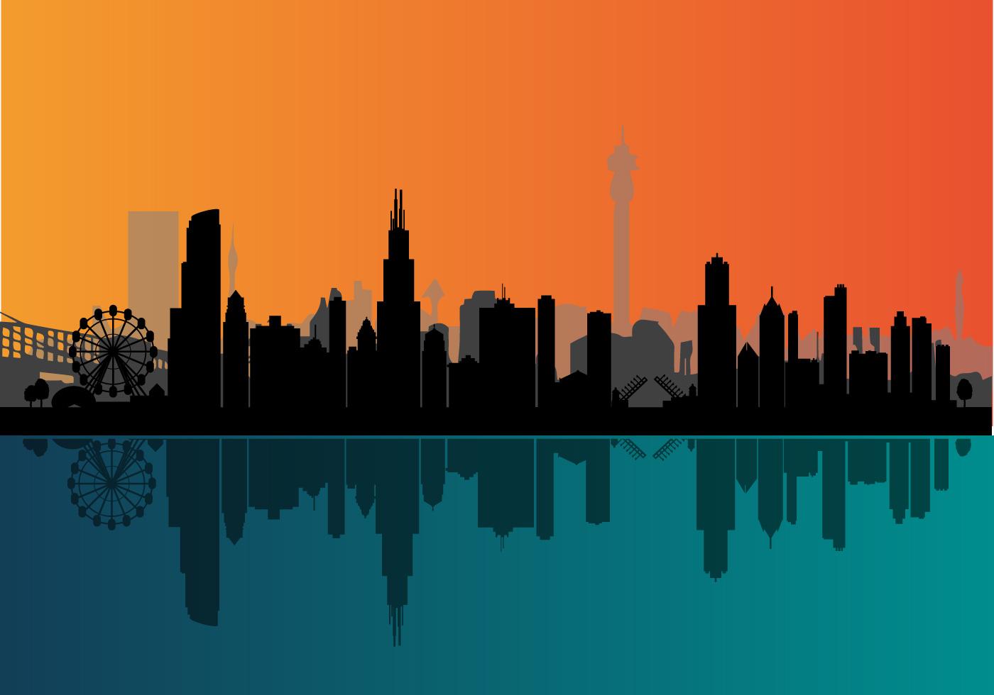 1400x980 Chicago Skyline Free Vector Art