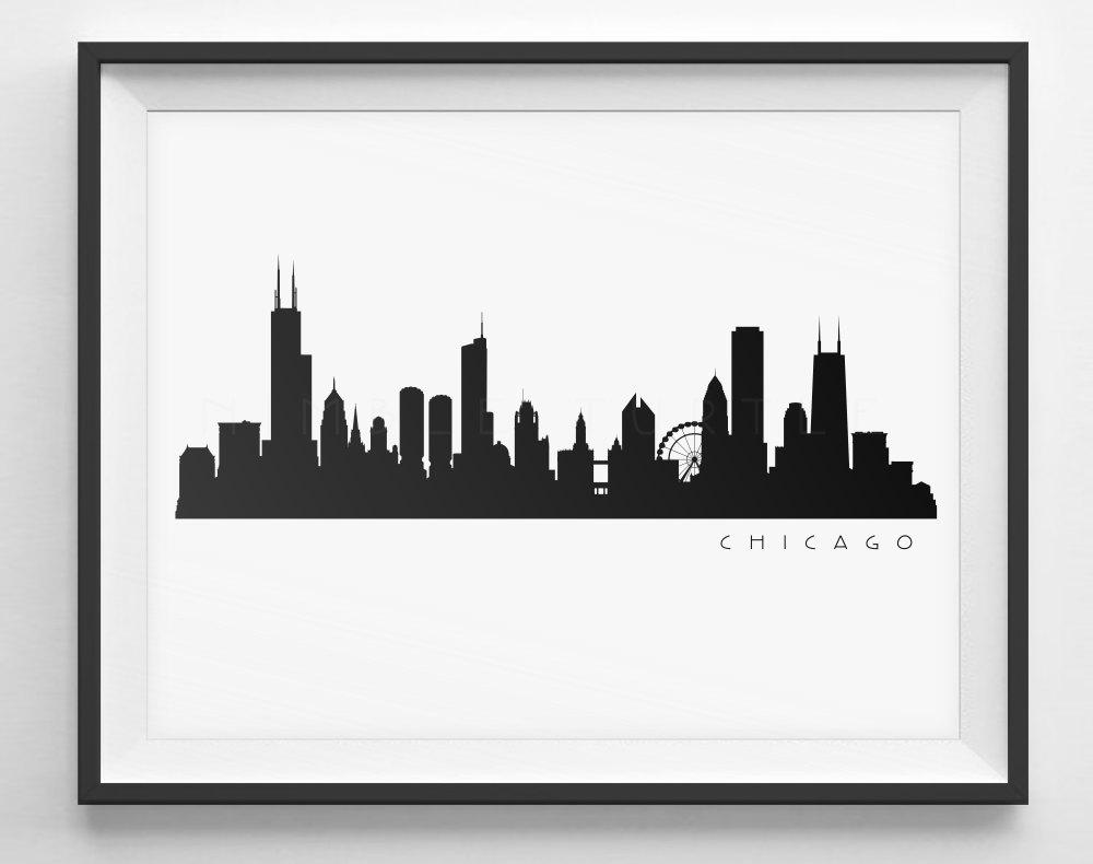1000x790 Chicago Skyline Silhouette Printable Skyline Pdf Png Etsy