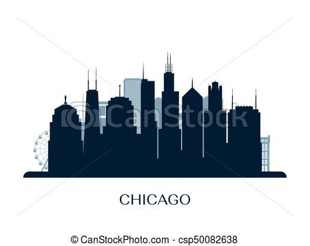 450x357 Chicago Skyline, Monochrome Silhouette. Vector Illustration.