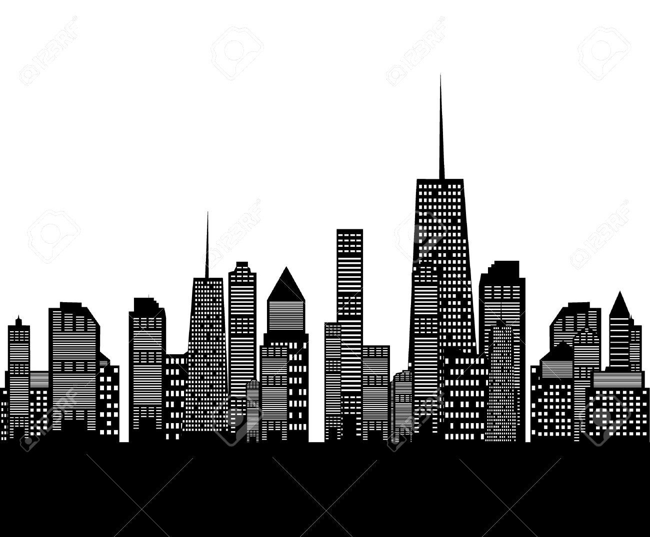 1300x1075 Illustration Of Cities Silhouette Royalty Free Cliparts Vectors