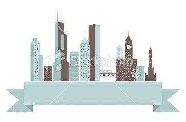 380x249 A Retro Styled Banner With The Chicago Skyline.
