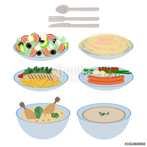 500x500 Food On Plate Collection, Soup, Salad, Pasta With Shrimps, Chicken