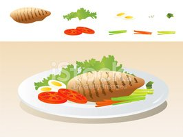 266x200 Grilled Chicken Breast With Vegetables Stock Vectors