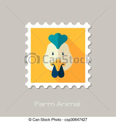 450x470 Chicken Flat Stamp. Animal Head Vector Illustration, Eps 10.