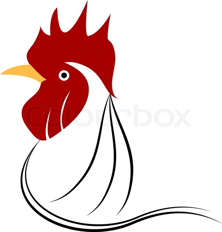 764x800 Chicken Head Grunge Icon. Vector Illustration Stock Vector
