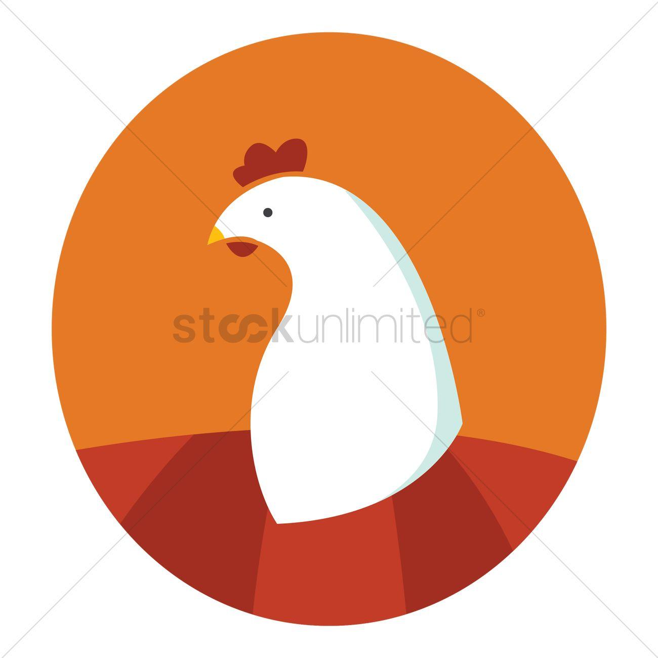 1300x1300 Free White Chicken Head Vector Image