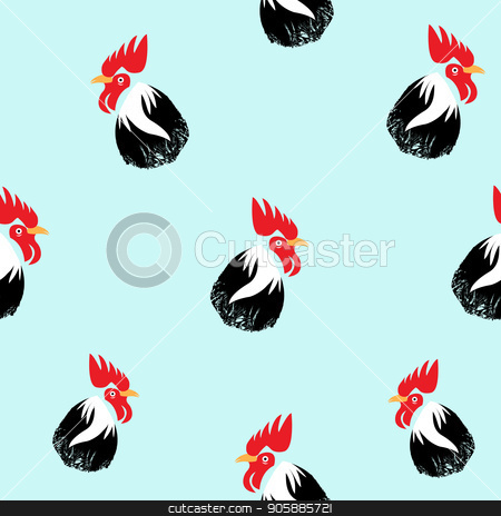450x464 Rooster Head Seamless. Seamles Chicken Head Vector Illustration