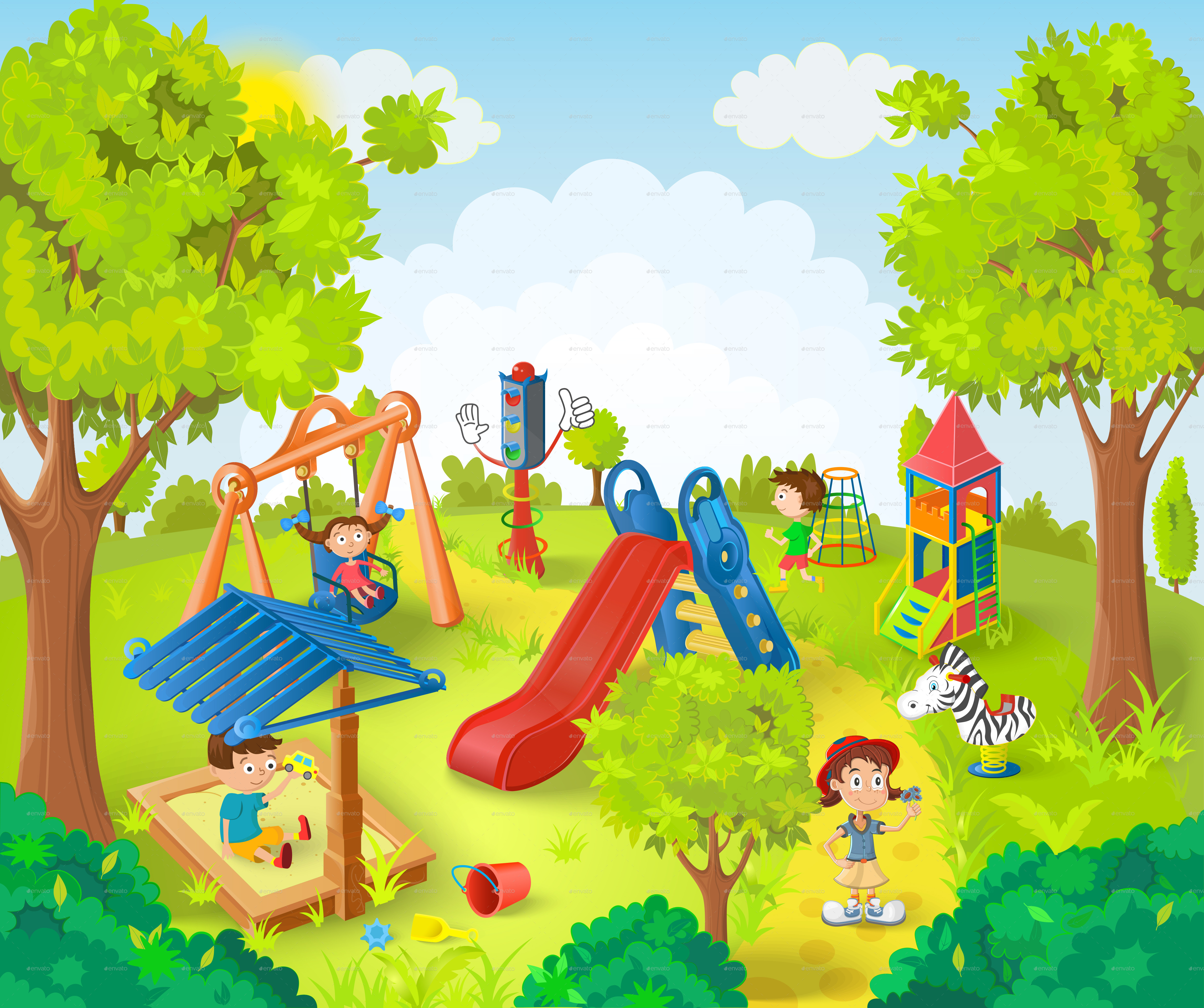 4662x3902 Children Playing In The Park Vector Illustration By Yayasya