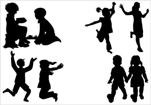 502x352 Children Silhouette Vector Graphics Vector