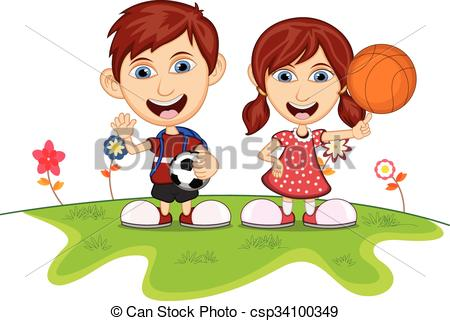 450x321 Children Playing In The Park Cartoon Vector Illustration.