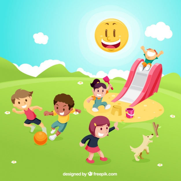 626x626 Children Playing On Playground Vector Free Download