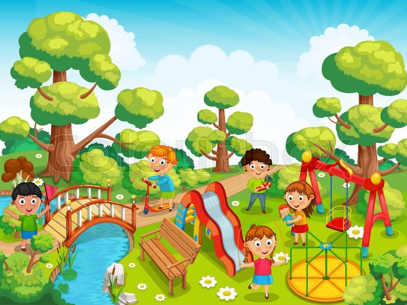 800x600 Children Playing With Toys On The Playground In The Park Vector