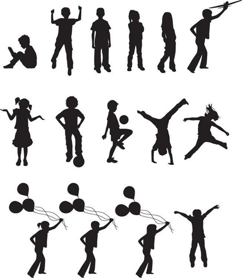 487x558 Free Vector Children Silhouettes Free Vector In Encapsulated