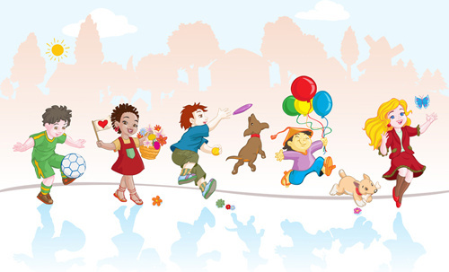 500x303 Many Children Playing Free Vector Download (3,325 Free Vector) For