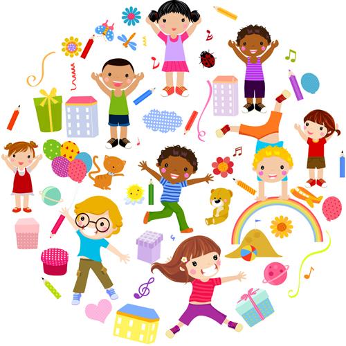 500x500 Playing Children Cartoon Vector Set 04 Free Download